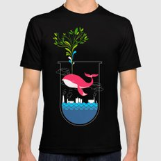 Nature Whale Mens Fitted Tee Black SMALL
