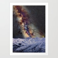 Sagitario, Scorpio and the star Antares over the hight mountains Art Print