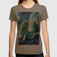 Going With The Flow Ocean Waves Womens Fitted Tee Tri-Coffee SMALL