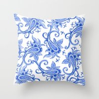Paisley: Blue China Comb… Throw Pillow