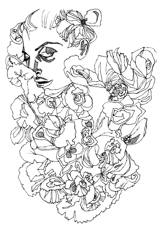 When the Petals Start Pouring Black & White Art Print