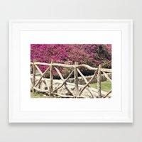 Spring fence Framed Art Print