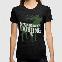 Something Worth Fighting… Womens Fitted Tee Tri-Black SMALL