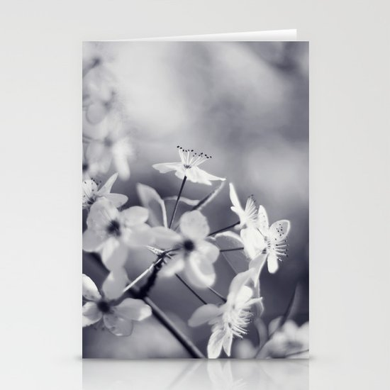Pear Blossoms in Black and White Stationery Card