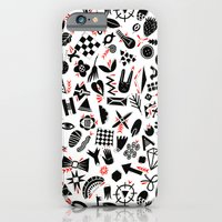 iPhone Cases featuring Black and white pattern by Yuliya