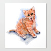 Happy Orange Kitten Canvas Print