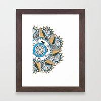 Gold & Turquoise Mandala Framed Art Print