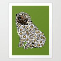 Pug Daisy Art Print
