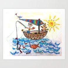 :: Row, Row, Row Your Boat :: Art Print