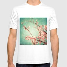 Pink Autumn Leafs on Blue Textured Sky (Vintage Nature Photography) Mens Fitted Tee SMALL White