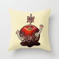 SWEET WORMS 2 - caramel apple Throw Pillow