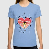 Butterflies Womens Fitted Tee Tri-Blue SMALL