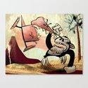 Epic Battle- Dennis Dinosaur vs. Chimpan-Steve! Canvas Print