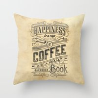 Coffee - Typography v2 Throw Pillow