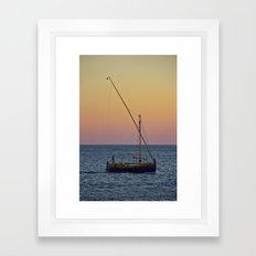 Boat Sunset Framed Art Print