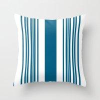 Egyptian Blue and white stripes Throw Pillow