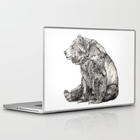 panda Laptop & iPad Skins featuring Bear // Graphite by Sandra Dieckmann