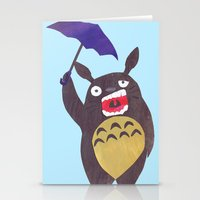 Totoro Is Tired Collage Stationery Cards