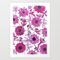 Small Pink Flowers Art Print