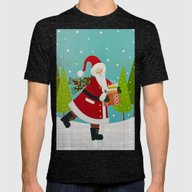 Santa And Presents Mens Fitted Tee Tri-Black SMALL