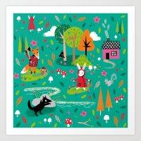 Little Red Riding Rabbit Art Print