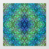 Lila's Flowers Repeat Blue Canvas Print