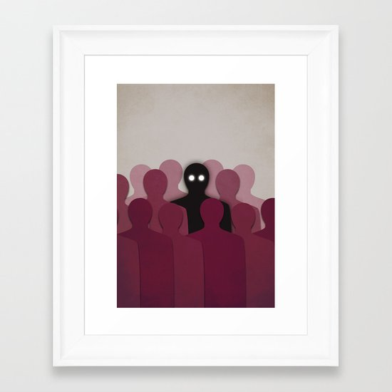 Different And Alone In Crowd Framed Art Print