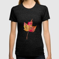 Autumn Leaf Womens Fitted Tee Tri-Black SMALL