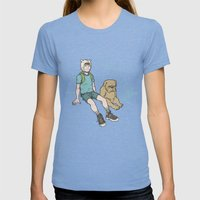 Adventure Time Womens Fitted Tee Tri-Blue SMALL