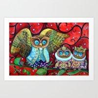 Baby owls Art Print
