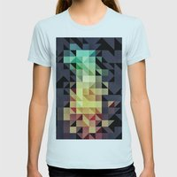 :: Geometric Maze IV :: Womens Fitted Tee Light Blue SMALL
