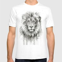 Lion Watercolor Black and White Animal Portrait Mens Fitted Tee White SMALL