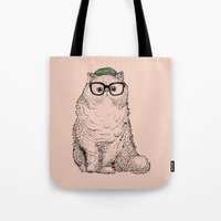 Hipster Persian Cat Tote Bag