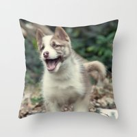 Happy puppy Throw Pillow