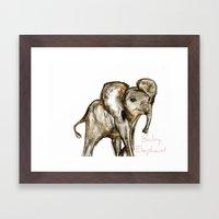 Baby Elephant Pink Framed Art Print