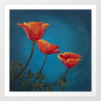 California Dreamin' - Orange Poppies  Art Print