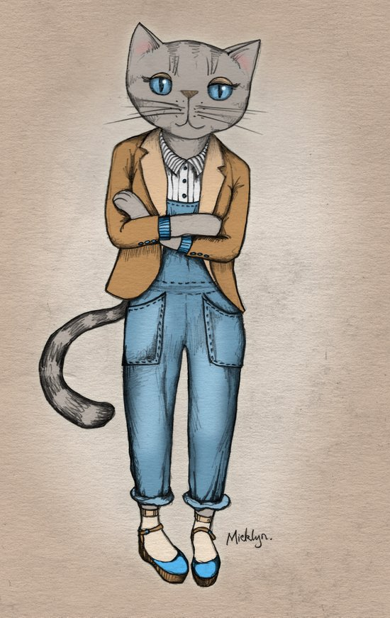 Hipster Kitty Cool Art Print