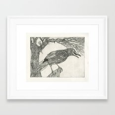 crow etching Framed Art Print