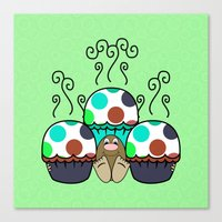 Cute Monster With Cyan And Blue Polkadot Cupcakes Canvas Print