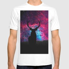 Deer Galaxy SMALL White Mens Fitted Tee