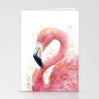 Pink Flamingo Watercolor Stationery Cards