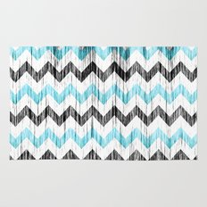 Grunge Chevron black/white/cyan Rug