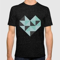 Geometric Heart (Blue) Mens Fitted Tee Tri-Black SMALL
