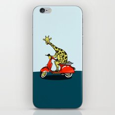 Giraffe riding a moped iPhone & iPod Skin