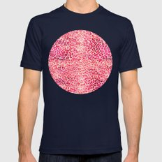 Pink Leopard Print Mens Fitted Tee Navy SMALL