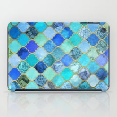 Cobalt Blue, Aqua & Gold Decorative Moroccan Tile Pattern iPad Case