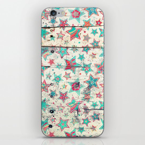 Grunge Stars on Shabby Chic White Painted Wood iPhone & iPod Skin