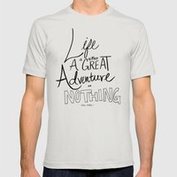 Great Adventure Mens Fitted Tee Silver SMALL