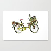 Flower-bike Canvas Print