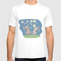 Bunnies Catching Fireflies Mens Fitted Tee White SMALL